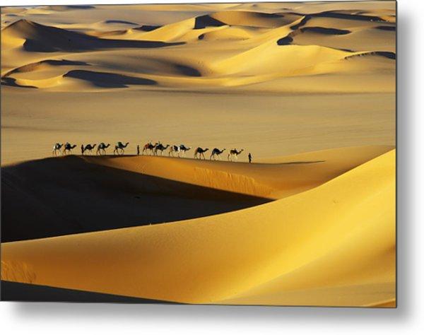 Tuareg Nomads With Camels In Sand Dunes Of Sahara Desert, Arakou Metal Print by Johnny Haglund