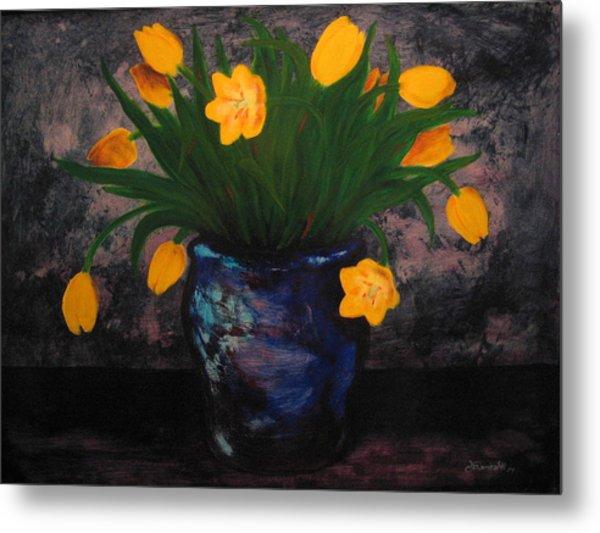 Tulips In Blue Metal Print
