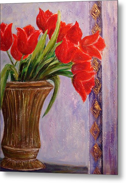 Tulips In Vase Metal Print