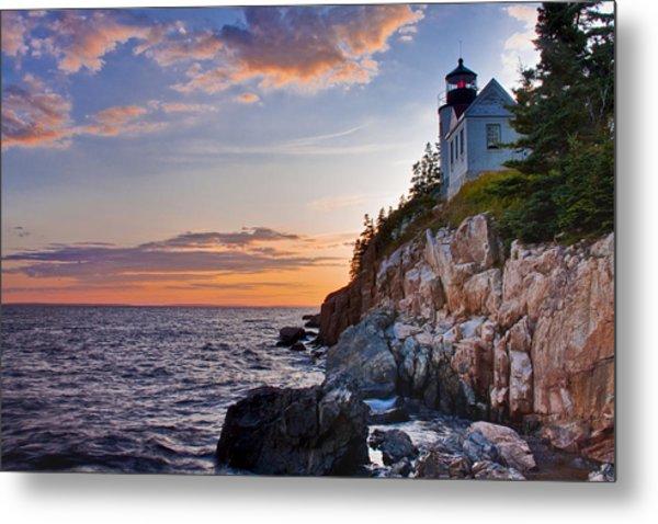 Twilight At The Bass Harbor Head Light  Metal Print by Jim Neumann