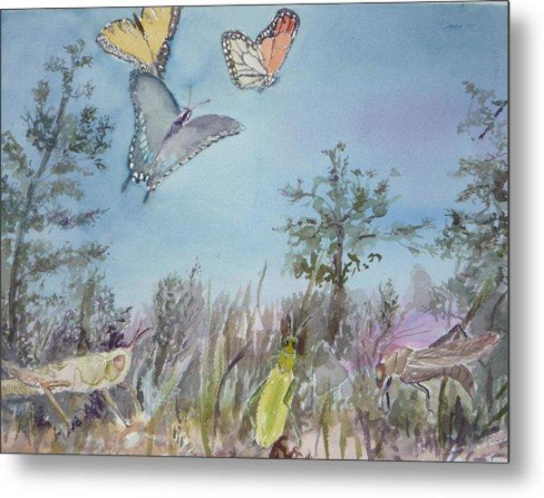 Twilight In The Garden Metal Print by Dorothy Herron