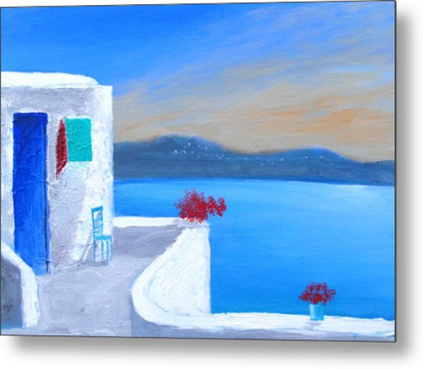 Twilight Santorini Metal Print