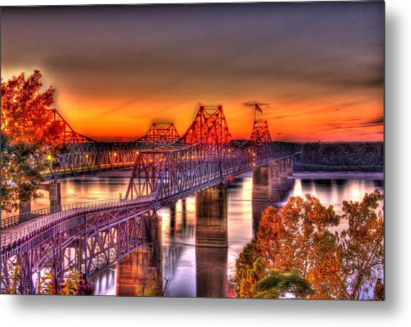 Metal Print featuring the photograph Twin Bridge At Sunset-hdr by Barry Jones