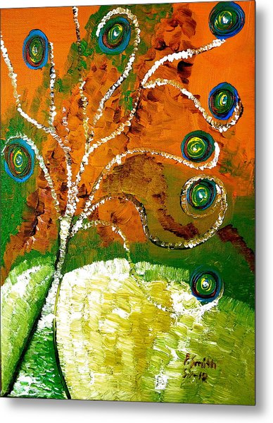 Twirl Pop Tree Metal Print by Pretchill Smith