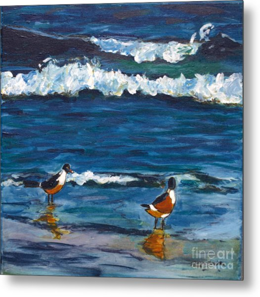 Two Birds With Waves Metal Print