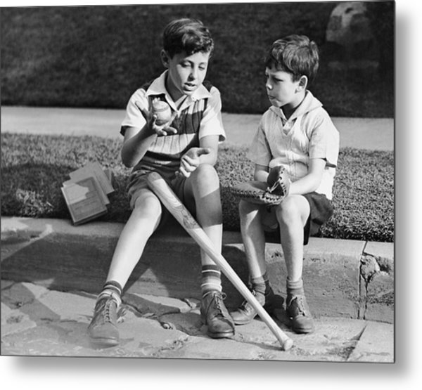 Two Boys Playing Baseball Metal Print by George Marks