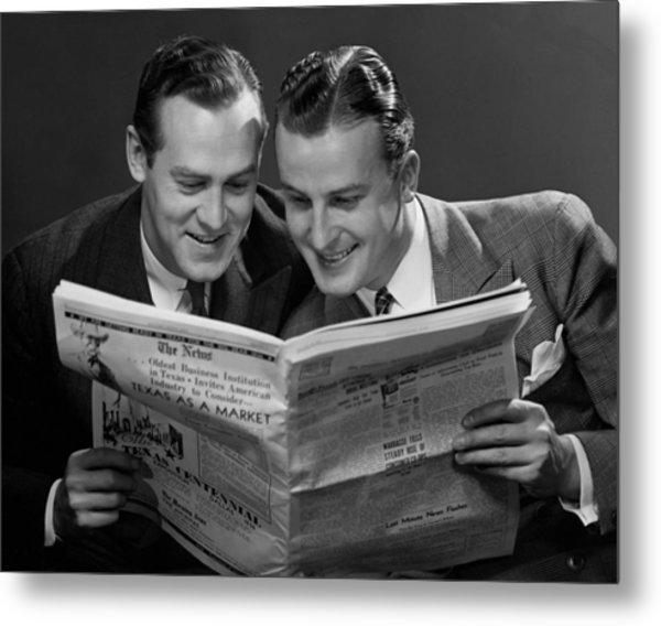 Two Businessmen Reading Newspaper Metal Print by George Marks