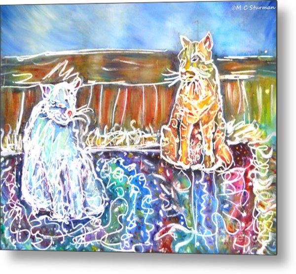 Two Cats On The Carpet Metal Print by M c Sturman