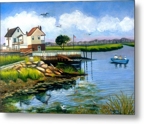 Two Houses In Broad Channel Metal Print