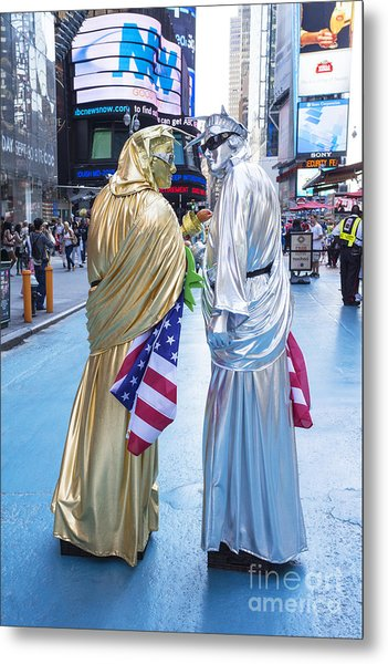 Two In Time Square Metal Print by Ed Rooney