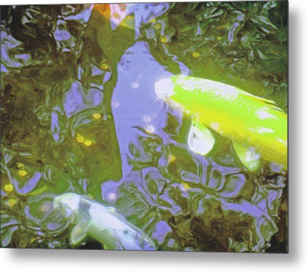 Two Koi In Water Garden Metal Print by Jerry Grissom