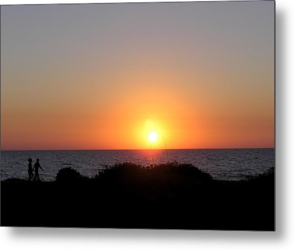Two Lovers Sunset Beach Walk Metal Print