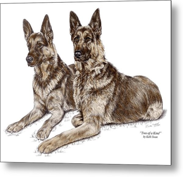 Two Of A Kind - German Shepherd Dogs Print Color Tinted Metal Print