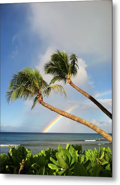 Two Palm Trees On Beach And Rainbow Over Sea Metal Print by Robert James DeCamp