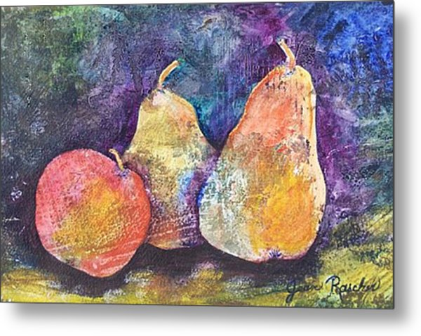Two Pears And An Apple Metal Print