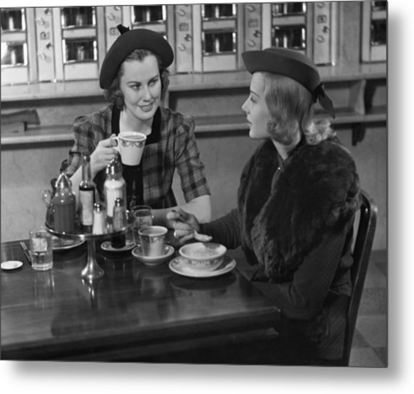 Two Women At Restaurant Metal Print by George Marks