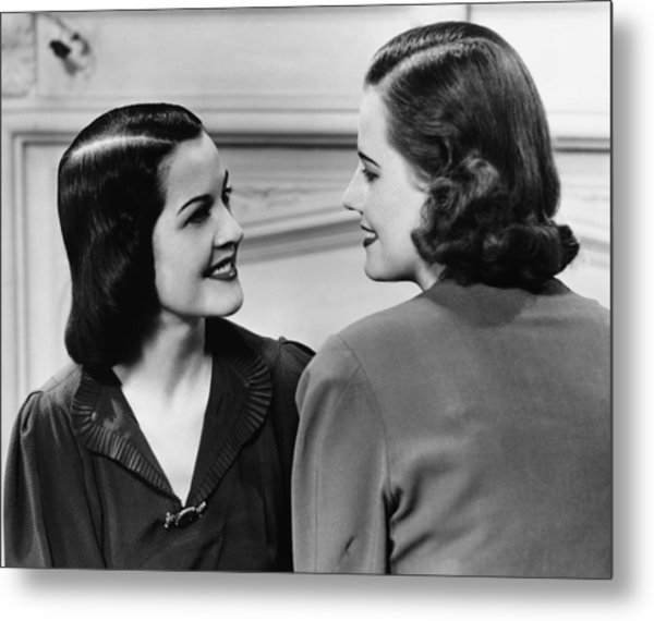 Two Women Conversing In Living Room, (b&w) Metal Print by George Marks