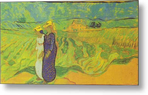 Two Women Crossing The Fields Metal Print by Vincent Van Gogh