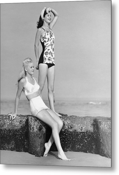 Two Women In Bathing Suits Metal Print by George Marks
