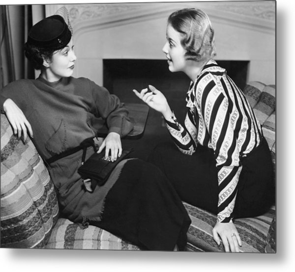 Two Women In Casual Conversation Metal Print by George Marks