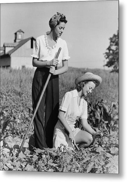 Two Women Working On Field, (b&w) Metal Print by George Marks