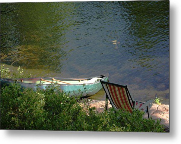 Typical Canoe And Chair Metal Print by Carolyn Reinhart