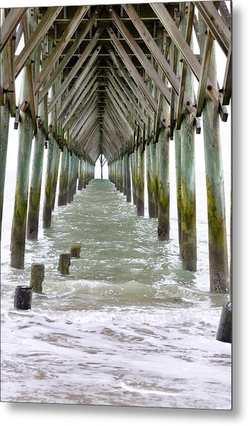 Under The Surf City Pier Metal Print