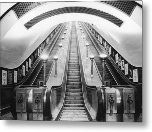 Underground Escalator Metal Print by Archive Photos