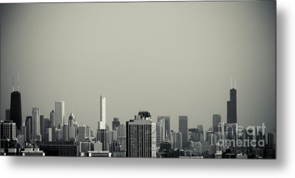 Unique Buildings In Chicago Skyline   Metal Print