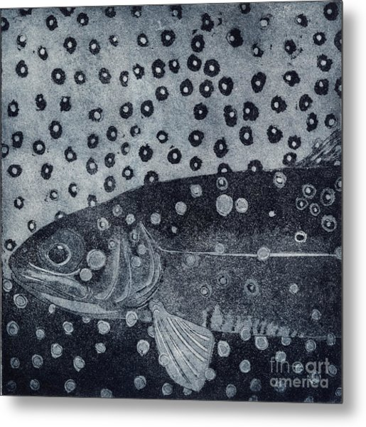 Unique Etching Artwork - Brown Trout  - Trout Waters - Trout Brook - Engraving Metal Print
