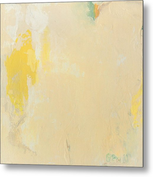 Untitled Abstract - Bisque With Yellow Metal Print