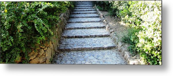 Up Hill Stairs In Parc Guell Barcelona Spain Metal Print by John Shiron