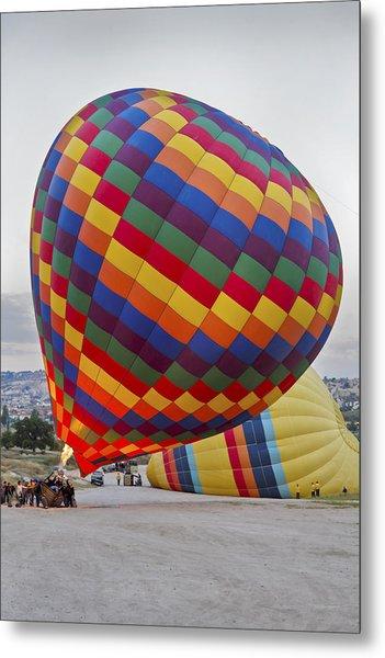 Up She Rises Hot Air Balloon Metal Print by Kantilal Patel