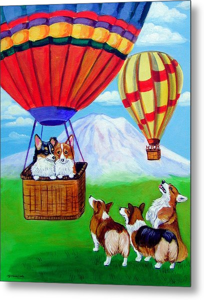 Up Up And Away - Pembroke Welsh Corgi Metal Print