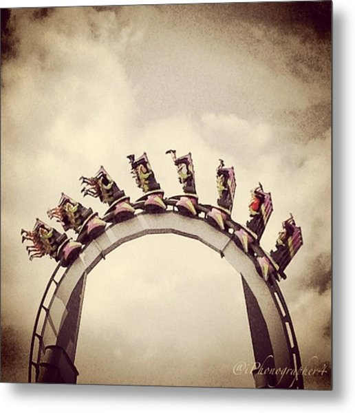 Upside Down On Top Of The World At Metal Print