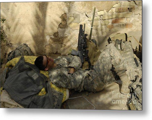 U.s. Army Specialist Takes A Nap Metal Print
