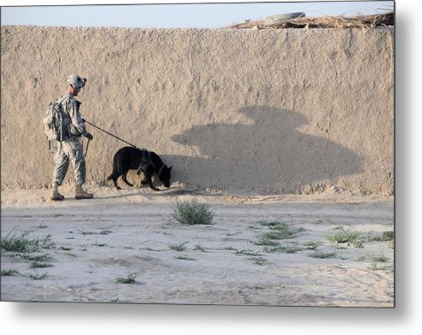 Us Army Working Dog Team Conducts Metal Print