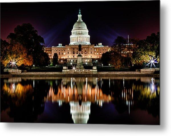 Us Capitol Building And Reflecting Pool At Fall Night 2 Metal Print