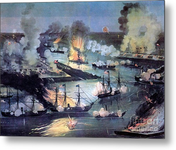 U.s. Navy Destroys Rebel Gunboats Metal Print