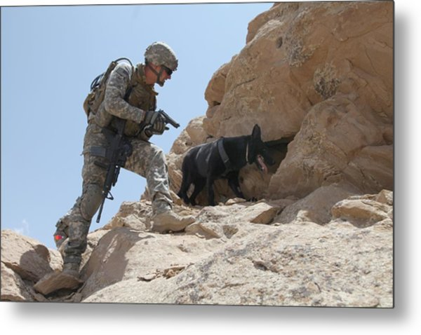 Us Soldier And Blek A Working Dog Clear Metal Print