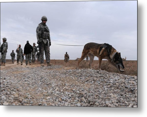 Us Soldier And His Working Dog Search Metal Print