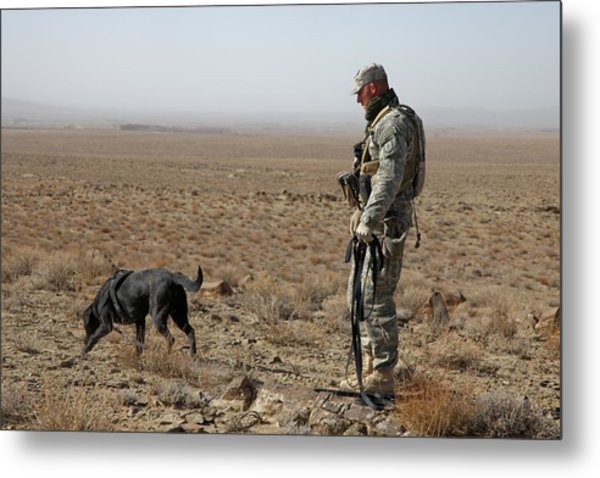 Us Soldier Works With A Dog Identified Metal Print
