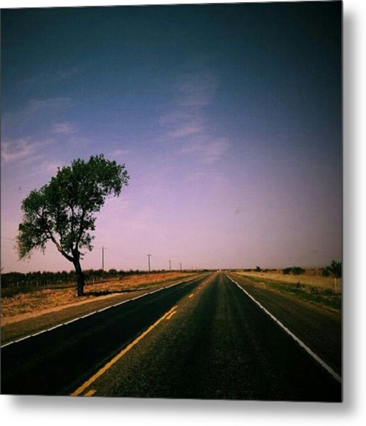 #usa #america #road #tree #sky Metal Print