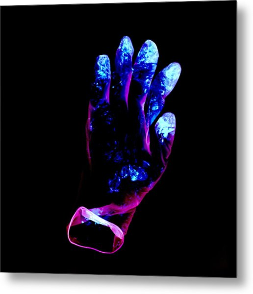 Used Surgical Glove, Negative Image Metal Print by Kevin Curtis