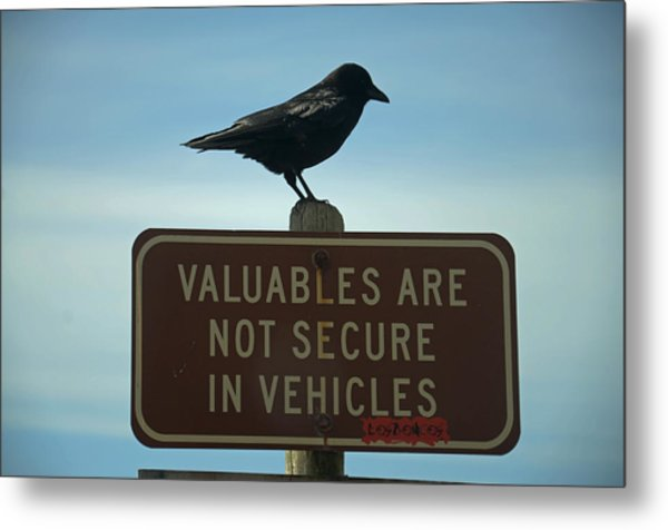 Valuables Are Not Secure Metal Print