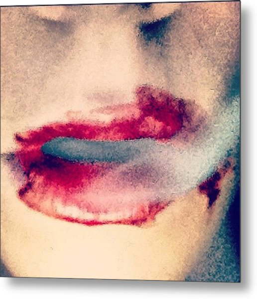 #vampire #iphone #lips #sexy Metal Print