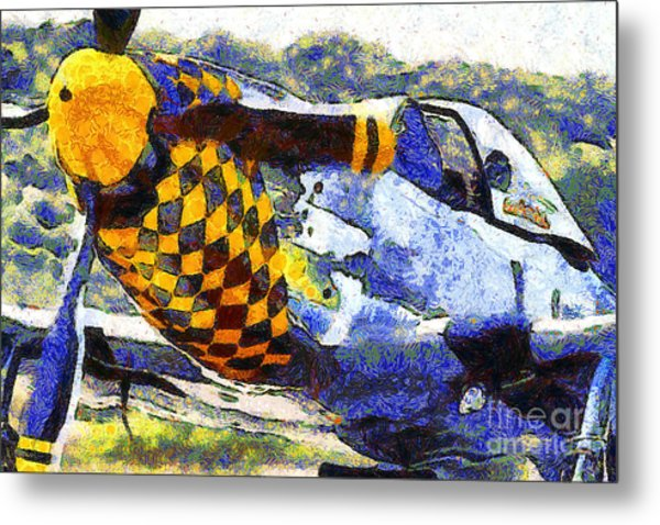 Van Gogh.s P-51 Mustang Fighter Plane . 7d15598 Metal Print by Wingsdomain Art and Photography