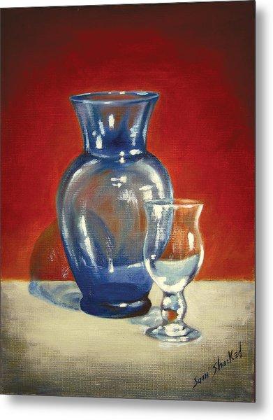 Vase N Glass Goblet Metal Print