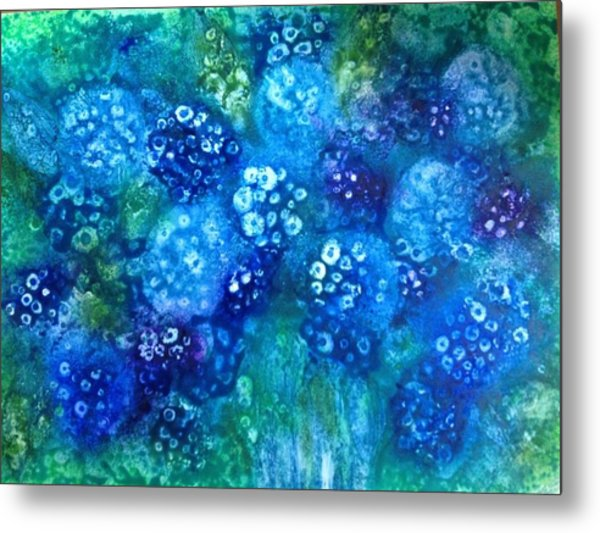 Vase Of Blue Hydrangeas Metal Print by Kelli Perk