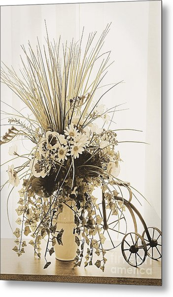 Vase With Flowers On A Window Table Metal Print